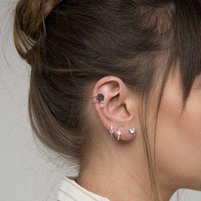 Joyas OnLine Plata de Ley 925 y Oro 18K. pendientes ear cuffs aro stud minimal