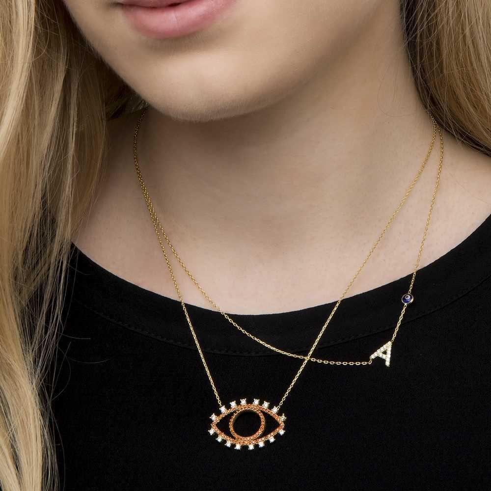 Joyas OnLine Plata de Ley 925 y Oro 18K. gargantilla colgante collar inicial nombre letra ojo picasso