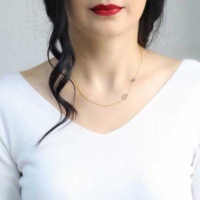 Joyas OnLine Plata de Ley 925 y Oro 18K. gargantilla collar inicial letra nombre