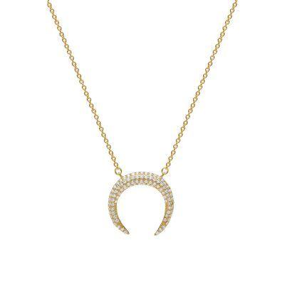 Joyas OnLine Plata de Ley 925 y Oro 18K. gargantilla colgante collar media luna
