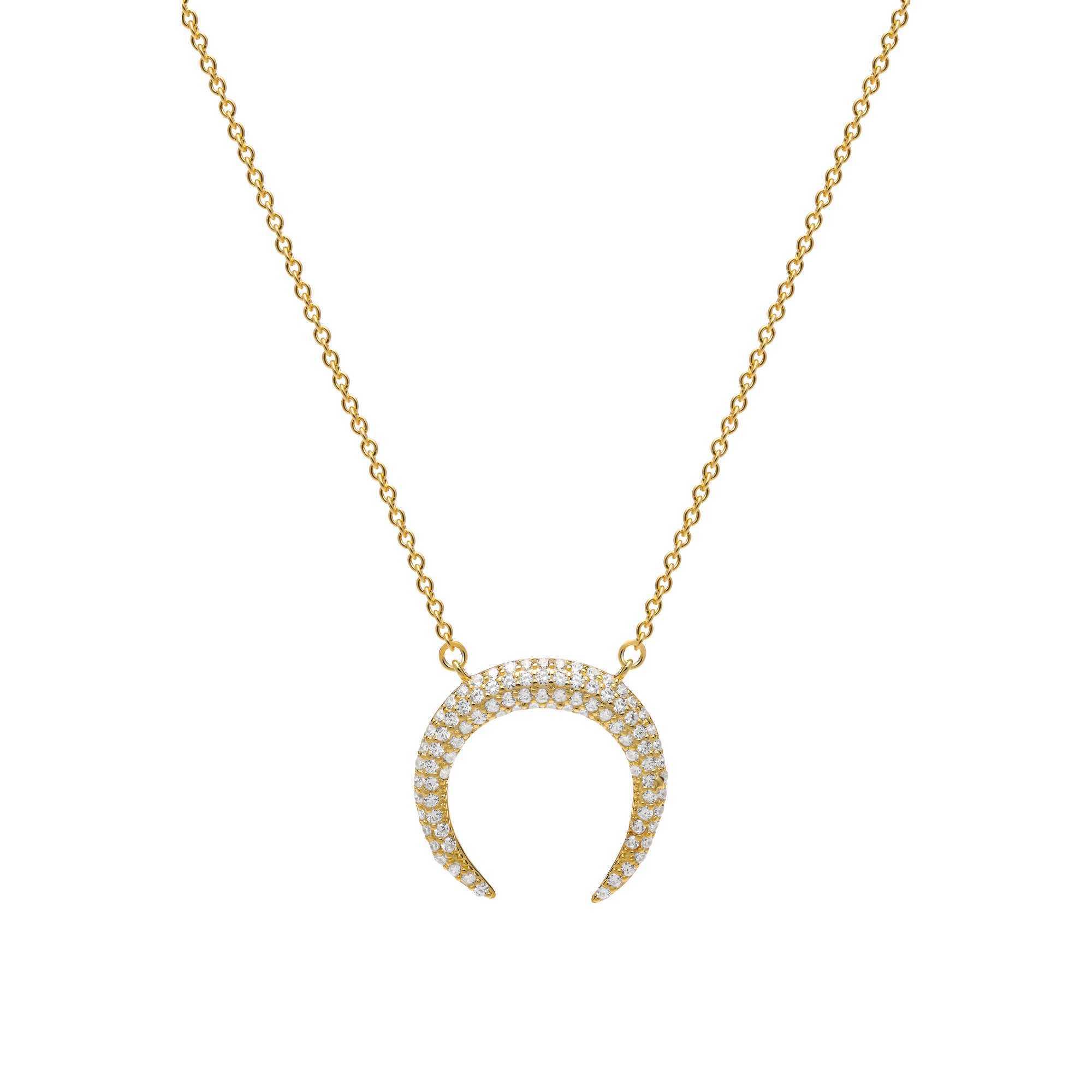 7d49add99d51 Joyas OnLine Plata de Ley 925 y Oro 18K. gargantilla colgante collar media  luna