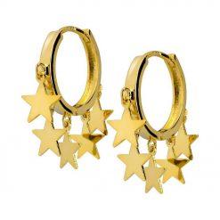 Joyas OnLine Plata de Ley 925 y Oro 18K. pendientes aros estrellas