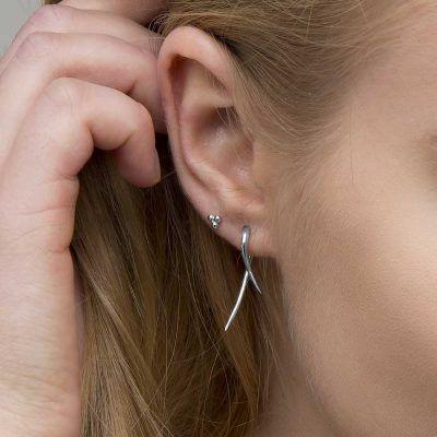 Joyas OnLine Plata de Ley 925 y Oro 18K. pendientes pequeños stud minimal pegados boton ear climber ear jacket ear cuffs