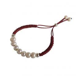 Joyas OnLine Plata de Ley 925 y Oro 18K. pulsera perlas cordón
