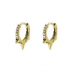 aro glam chiara plata y oro aros pequeños con circonitas blancas pendientes minimalistas studs piercings pendientes de aro pequeñitos SUTILLE joyas para Mujer