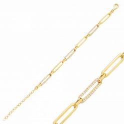 Pulsera Link Oro con circonitas blancas pulseras de eslabones para mujer