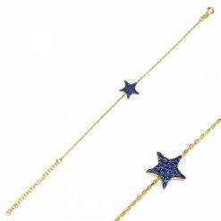 pulsera star azul oro pulseras de circonitas pulseras de cadena de eslabones oro y plata