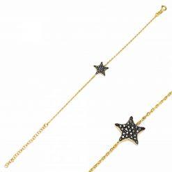 pulsera star negra oro pulseras de circonitas estrella pulseras de cadena de eslabones oro y plata pulseras de oro
