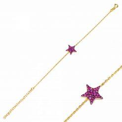 pulsera star rosa oro pulseras de circonitas pulseras de cadena de eslabones oro y plata