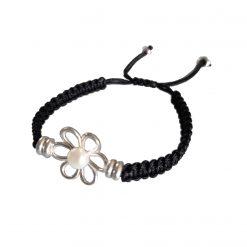 pulsera flor negra cordón nudo corredizo pulseras con perlas naturales