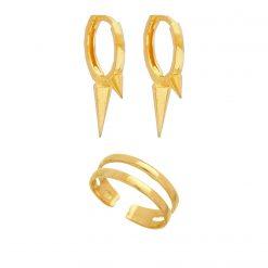 Set Berlin Anillo abierto midi oro pendientes aro rebel oro joyas SUTILLE para mujer
