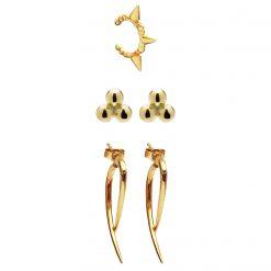 Set Londres ear cuff rebel pendientes carambola ear jackets rebel oro joyas SUTILLE para mujer