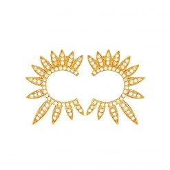 pendientes troya oro aro frontal con circonitas pendientes para mujer SUTILLE