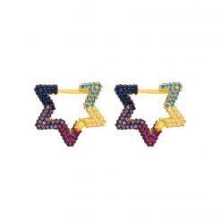 Aro Estrella Multicolor Oro Rainbow Pendientes Aros Estrellas Circonitas de Colores Joyas para Mujer SUTILLE