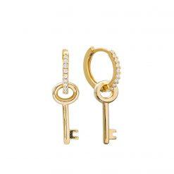 Pendientes llave Oro Aros llaves pendiente de aro con formas pendientes con circonitas joyas bonitas para mujer SUTILLE pendientes 2 en 1